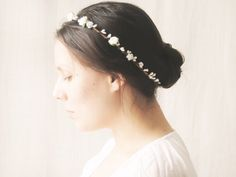 White Flower Crown, Bridal Headpiece, Bridal Crown, Floral Circlet, Woodland Halo, Floral Crown, Simple Crown, Wedding Hair Accessories on Etsy, £15.29