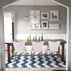 soft gray walls with blue & white chevron rug - wonderful!
