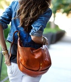 Leather purse with jean top and white pants