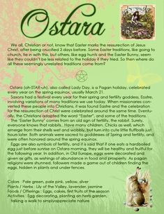 Ostara: LOVE this, I'm always trying to explain to people that most Wiccan holidays have a Christian equivalent and are even celebrated in nearly the same fashion.