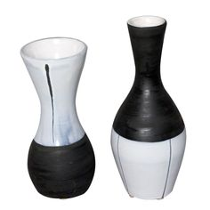 Set of Two Glazed Ceramic Bottle Form Vases by Jacques Innocenti