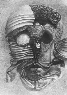 Art by Zdzislaw Beksinski Arte Horror, Horror Art, Dark Paintings, Classic Paintings, Macabre Art, Sketch Inspiration, Psychedelic Art, Surreal Art, Dark Art