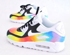 These custom hand-painted Nike Air Max 90 Running shoes have a colorful pattern painted on the uppers with black panels giving these shoes the perfect color balance. These shoes are hand-painted, made Nike Air Max, Air Max 90, Nike Free Shoes, Nike Shoes Outlet, Cute Shoes, Me Too Shoes, Air Max Sneakers, Sneakers Nike, Custom Sneakers