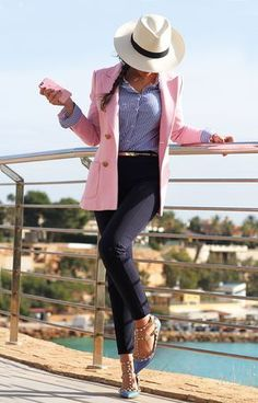 This outfit is casual and fun. *Not crazy about the hat, I'm not a big hat person* Fall Outfits For Work, Casual Work Outfits, Business Casual Outfits, Professional Outfits, Classy Outfits, Pink Blazer Outfits, Work Fashion, Fashion Outfits, Womens Fashion