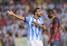 Jesus Gamez of Malaga CF reacts during the La Liga match between Malaga CF and FC Barcelona at La Rosaleda Stadium on August 25, 2013 in Malaga, Spain.