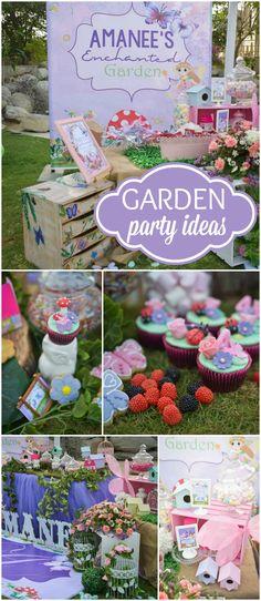Garden party decorations enchanted ideas for 2019 Garden Party Cakes, Garden Party Decorations, Garden Parties, Outdoor Birthday, Garden Birthday, Fairy Birthday, 4th Birthday, Birthday Ideas, Garden Crafts