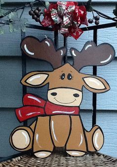 Moose door hanger moose door sign by Angelascreativecraft on Etsy Christmas Moose, Christmas Crafts, Holiday Signs, Wood Cutouts, Laser Cut Wood, Door Signs, Door Hangers, Painting On Wood, Reindeer