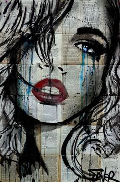 Ink drawing by Loui Jover. I love the dripping technique used to inject colour. This artist is also interesting for his use of book pages as the background to his more simplistic monochromatic drawings