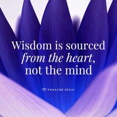 Wisdom is sourced from th heart, not the mind Panache Desai Wisdom.....