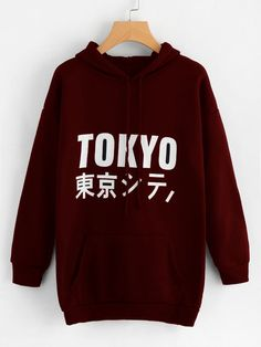 897068473e2b1 SheIn offers Letter Print Long Hoodie   more to fit your fashionable needs.