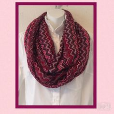 """Italian made infinity scarf. Wool, mohair blend. Lightweight and soft but also warm. Infinity scarf. Very good condition76""""x13.5"""" Has very tiny hole at seam edge(see 3rd photo) Warm colors, red brown burgundy pink and white. Accessories Scarves & Wraps"""