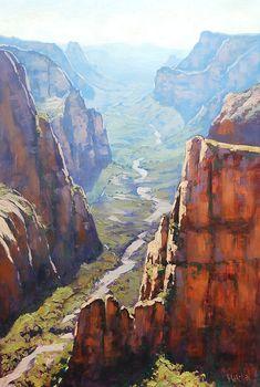 Zion Gorge Painting by artsaus.deviantart.com on @DeviantArt