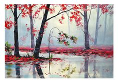 PINK TREES PAINTING spring blossom river by GerckenGallery on Etsy