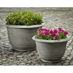 Kinsey Garden Decor Round Padova Cast Stone Outdoor Planters. Modern Porch  Or Patio Container Gardening