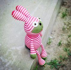 Kawaii Cute Day-Dreaming Striped Sock Bunnies/ Rabbits, Sock Animals, Plush Animals, Children-Friendly, Handmade Home Decor, Handmade Gifts