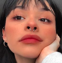 Small Septum Piercing, Upper Lip Piercing, Men's Piercings, Smiley Piercing, Body Piercing, Septum Ring, Medusa Tattoo, Cute Nose Rings, Pink Hair Streaks