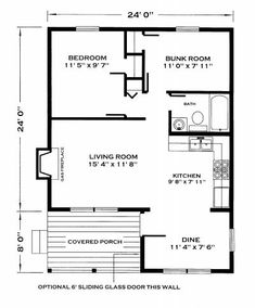 open floor plan 24 x 42 | 24x32 (view floor plan) 768 sq.ft