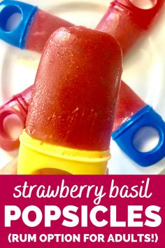 Homemade popsicles get a unique flavor twist!  These strawberry basil popsicles are great for kids and adults alike.  For the grownups, you can even make them rum infused popsicles! #popsicles