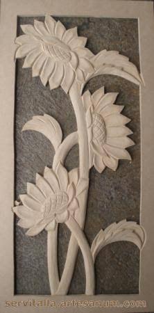 Image result for cuadros de girasoles tallados en madera
