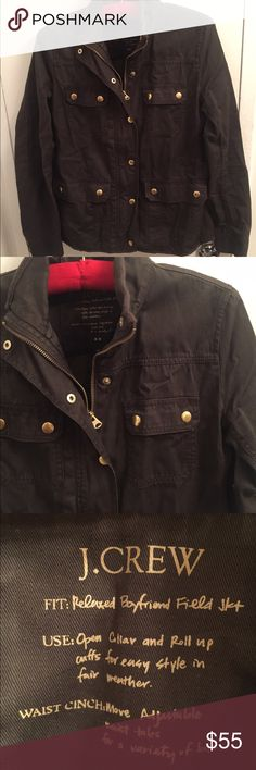 Jcrew Relaxed boyfriend field jacket Green/brown lightly worn jacket in size XS in waxed cotton. Very comfortable, great light jacket, Military-inspired. J. Crew Jackets & Coats Utility Jackets