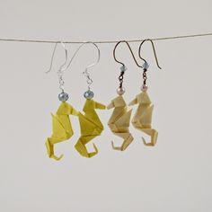 Handmade miniature origami seahorse earrings by Katy Higgins of Prairie Kate Creations #prairiekate