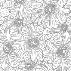 A modern floral pattern is made even more stylish with raised metallic ink and tastefully done glitter accents. The silver flowers shine in the light over an eggshell white background. Vivienne is an
