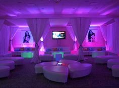 LED Bat Mitzvah Kids Lounge with Purple Lighting {Long Island Bat Mitzvah by Interactive Entertainment Group} - mazelmoments.com