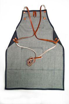 Shop Apron with Cross Back Strap - Denim, Raw Denim, Denim, Leather Work Aprons, Cute Aprons, Shop Apron, Apron Diy, Apron Designs, Leather Apron, Sewing Aprons, Raw Denim, Old Jeans