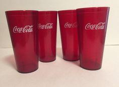New 4 Red Plastic Coca Cola Glasses Restaurant Cups Tumbler Coke Carlisle 5224   eBay