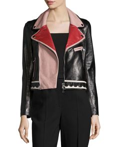 Multicolored Leather Jacket, Size: 42 IT (4 US), Ciliegia/Avorio/ - RED Valentino