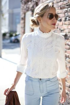 how to wear lace tops - Over your favorite pair of jeans: Lace and jeans is an amazing outfit idea to wear everyday, an How To Wear Belts, How To Wear White Jeans, Mode Outfits, Fashion Outfits, Jeans Fashion, Dress Fashion, High Neck Lace Top, High Waist, High Neck Blouse