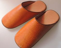 TOKYO leather simple slippers Vegetable tanning by HeiwaSlipper