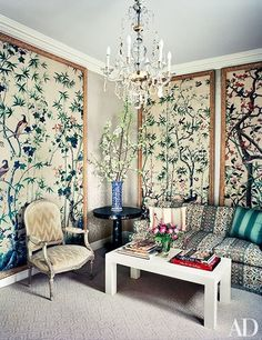 Panels-Framed antique wallpaper panels decorate the Madrid sitting room, where a sofa covered in a Cowtan & Tout fabric faces a cocktail table by Bardeaux Meuble. Antique Wallpaper, Framed Wallpaper, Wallpaper Panels, Chic Wallpaper, Midcentury Wallpaper, Hanging Wallpaper, Midcentury Fabric, Asian Wallpaper, Fabric Wallpaper