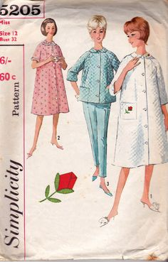 1960s Simplicity 5205 Raglan Sleeve Robe & Pyjamas Vintage Sewing Pattern Size 12 Bust 32 inches