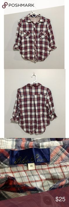 Half Sleeve Checkered Flannel Excellent condition. Fits pretty small. No longer found in stores or online. Francesca's Collections Tops Button Down Shirts