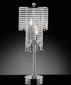 Silver chrome finish metal and hanging glass crystal shade table lamp . Measures x x 31 H. Some assembly required. Metal Table Lamps, Glass Table, A Table, Hanging Crystals, Drum Shade, Chrome Plating, Ceiling Lamp, Chrome Finish, Lamp Light