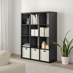 "KALLAX Shelf unit, black-brown, 44 1/8x57 7/8"" - IKEA Etagere Kallax Ikea, Ikea Kallax Shelf Unit, Ikea Expedit Bookcase, Ikea Kallax Regal, Ikea Shelves, Bookcases, Ikea Shelving Unit, Modular Shelving, Bookcase Shelves"