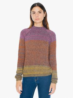 Made with scrap yarn, this lightweight cotton/nylon sweater has a raglan design, ribbed trim and mock neck. In two limited edition color combinations.