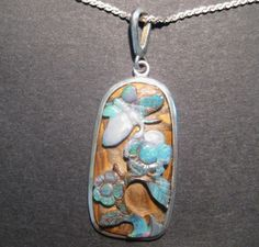 Unique Raised Design Australian Queensland Boulder Opal Pendantopal jewellery
