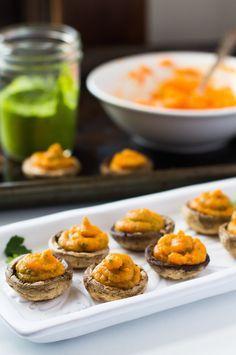 Chimichurri Sweet Potato Stuffed Mushrooms | AIP, Paleo, Vegan