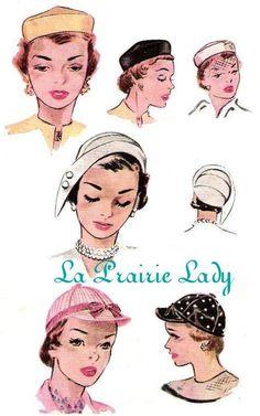 8b2d0ba1d87 Repro Vintage Pattern 3 Hats 50s No 1 on Printable PDF Size Head 21.5 to  22.5