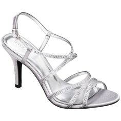 Details about SILVER DIAMANTE ENCRUSTED MEDIUM HEEL PLATFORM