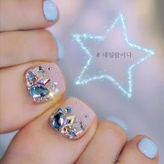 Hottest Pictures korean Toe Nail Art Tips Commonly any time we believe with ft ., we think there're messy and positively not really the most Cute Toe Nails, Toe Nail Art, My Nails, Purple Nail Designs, Nail Art Designs, Feet Nail Design, Korean Nails, Feet Nails, Pedicure Nails