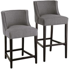 Eva is like a warm hug from your best-dressed friend. Upholstered to the nines in a soft gray, tweed-like polyester, these contemporary stools have curves in all the right places. Contoured backs and deep seats provide uncommon comfort; self-welted fabric detail and smooth espresso legs add sophistication and style.