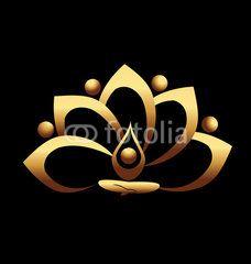 Gold lotus and people team meditation icon vector logo — Stock Illustration Lotus Kunst, Lotus Art, Lotus Logo, Yoga Symbols, Vector Logo Design, Flower Logo, Lotus Flower, Yoga Art, Leaf Art