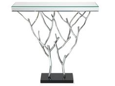 2Wayside Console Table - Polished stainless steel with mirror top, wall mounted. Dimensions: h900 w950 d300 Finishes: Polished Stainless Steel