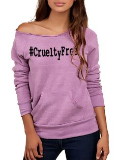 FTLA Apparel  -  #CrueltyFree Eco Tri- Purple - Off The Shoulder Eco-Fleece Sweatshirt Made in the USA by FTLA Apparel