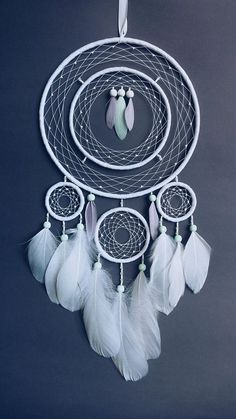 White boho chic dream catcher Room decor Wall hanging Birthday gift Bookshelf decor White boho chic dreamcatcher with white and colorful feathers will suit your room perfectly and can become original gift for someone special! Cute Room Decor, Wall Decor, Diy Dream Catcher Tutorial, Dream Catcher Decor, Making Dream Catchers, Dream Catcher Mobile, Room Decor For Teen Girls, Beautiful Dream Catchers, Creation Deco