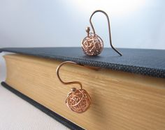 Rose Gold Earrings Tangled Ball Earrings Drop by UESAtelier, $23.00