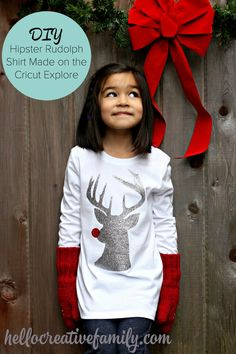 DIY Hipster Rudolph Shirt Made On Cricut Explore From Sew Creative. A quick and easy Christmas Shirt that makes a great Christmas Gift Christmas Vinyl, Christmas Shirts, Christmas Sweaters, Christmas Clothes, Christmas Crafts, Christmas Music, Christmas Stuff, Textiles, Rudolph The Red